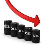 Row of barrels and red arrow Stock Photography