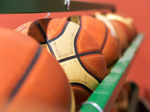 Row of basket balls Stock Photo