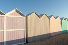 A row of bathing boxes, early morning, empty Stock Images