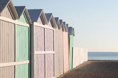 A row of bathing boxes, early morning, empty Royalty Free Stock Images
