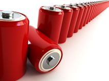 Row of batteries Stock Photography