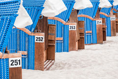 A row of Beach chairs Royalty Free Stock Photos