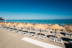 Row beach-chairs the Mediterranean Sea Royalty Free Stock Photography
