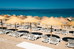 Row beach-chairs the Mediterranean Sea Royalty Free Stock Photos