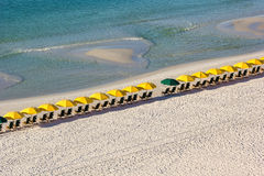Row of Beach Chairs and Umbrellas Royalty Free Stock Photos