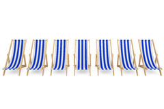 Row of Beach chairs with white and blue stripes Stock Images