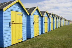 Row of beach huts on Bognor Seafront, Sussex, England Stock Image