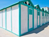 Row of beach huts. At sea royalty free stock photography