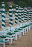 Row of Beach Umbrellas Stock Photo