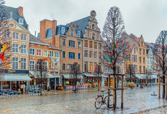 Row of beautiful buildings on Old Market Square in Leuven Royalty Free Stock Images
