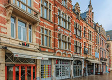 Row of beautiful buildings on Old Market Square in Leuven Stock Images