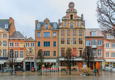Row of beautiful buildings on Old Market Square in Leuven Stock Photo