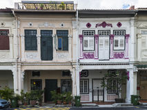 Row of beautiful and well conserved houses along Blair road. Royalty Free Stock Image