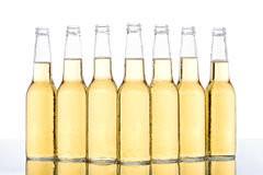 Row of beer bottles. Row of glass beer bottles with light yellow liquid and condensation, white background Stock Photo