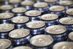 Row of beer cans Stock Photography