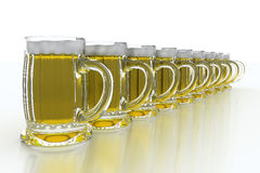 Row of beer mugs Stock Photo