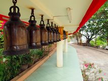A row of bells in Buddhist's temple Royalty Free Stock Images