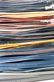 Row of belts for sale at a local market Royalty Free Stock Image
