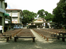 Row of Bench Seats, National Shrine of Divine Mercy in Marilao, Bulacan Royalty Free Stock Image