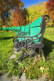Row of benches at autumn Royalty Free Stock Photo