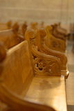 Row of benches in church Royalty Free Stock Photo