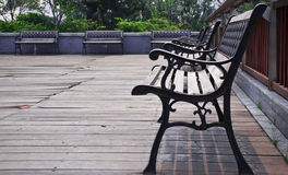 A row of  benches in the park. Benches for visitors to rest in the park Stock Photo