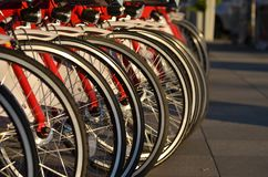 Row of bicycle wheels, headlights. Close shot of a row of red bicycle wheels and headlights. Selective focus royalty free stock photography