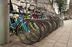 Row of bicycles Stock Images