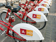 Row of bicycles in Antwerp, Belgium Royalty Free Stock Photography