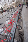 Row of bicycles Bicing sharing system Royalty Free Stock Images