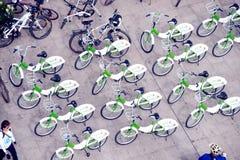 Row of bicycles in Car Free Day,Bangkok,Thailand. Royalty Free Stock Photo