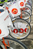 Row of bicycles at citybike station in Vienna Royalty Free Stock Photography