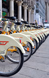 Row of bicycles for hire, Milan Stock Photos
