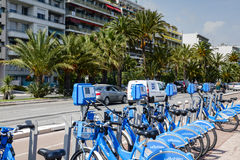 Row of bicycles for hire at Promenade des Anglais Stock Images