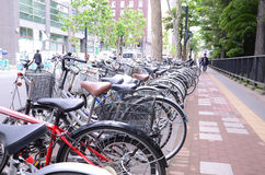 Row of bicycles parking Royalty Free Stock Image