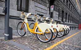 Row of bicycles for rent Royalty Free Stock Photos