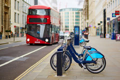 Row of bicycles for rent in London, UK Royalty Free Stock Images
