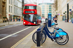 Row of bicycles for rent on a street of London Royalty Free Stock Image