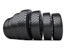 Row of big vehicle truck tires. New car wheels. Royalty Free Stock Image