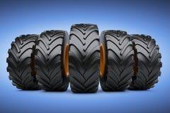 Row of big vehicle truck tires. New car wheels set. 3d illustration over blue background vector illustration