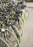 Row of bikes available to rent Stock Photography