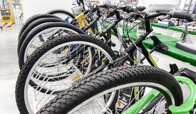 Row of bikes available to sell Royalty Free Stock Photos