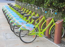 Row of bikes / bicycles Stock Images