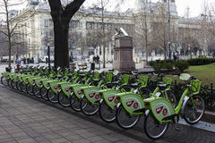 Row of bikes in Budapest, Hungary. Row of public bikes in Budapest, Hungary. Photo taken on: February 1, 2015 Stock Image