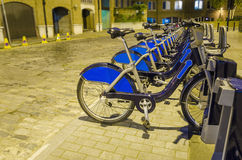 Row of bikes for hire in London Royalty Free Stock Photo