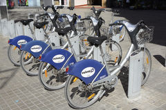 Row of bikes for hire in Valencia, Spain Royalty Free Stock Photography