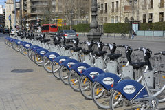 Row of bikes for hire in Valencia, Spain Stock Photography