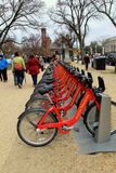 Row of bikes for rent, making it easy to get around the city, Downtown Washington,Dc,2015 Stock Photography