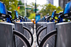 Row of bikes to rent in the city Royalty Free Stock Photography