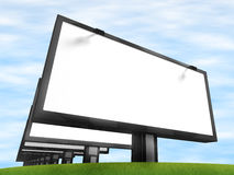 Row of billboards. Blue sky with clouds and a billboard Royalty Free Stock Photo